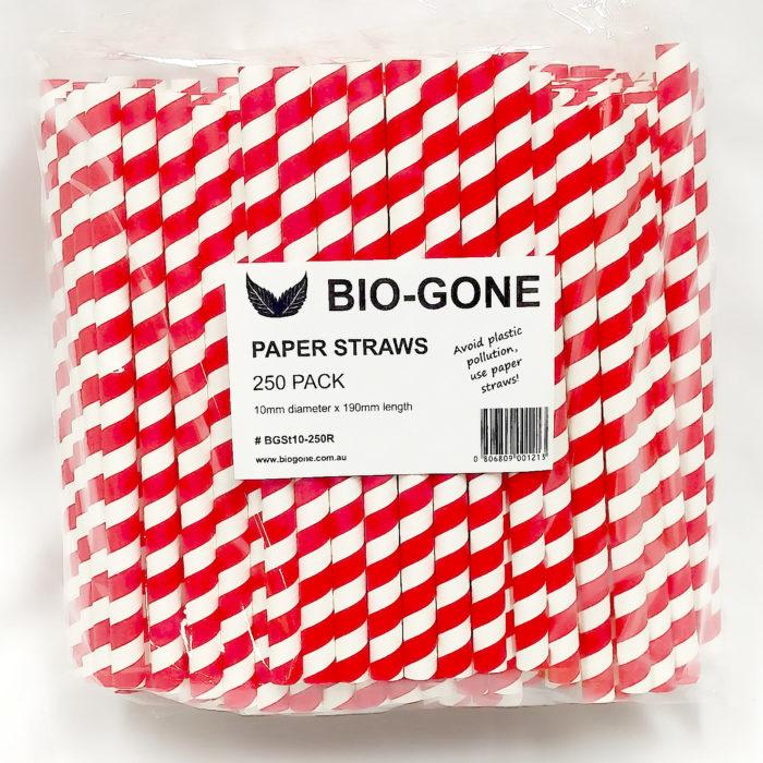 Large DiameterPaper Straws (250 pack) Red Stripe