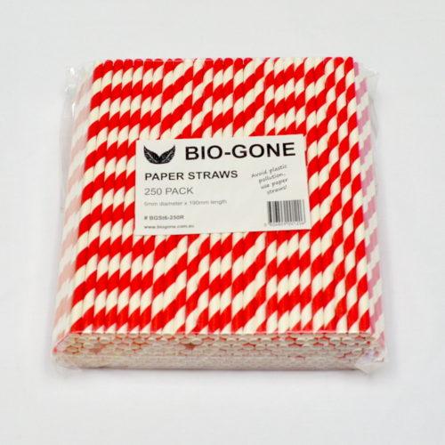 Regular Sized Paper Straws (250 pack) Red Stripe